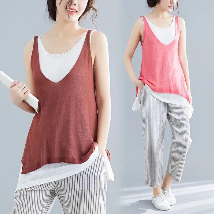 假兩件 背心 針織衫 長版上衣 焦糖色 亮粉色 夏季 無袖吊帶 針織上衣 ~HS7378