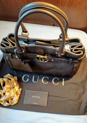 Gucci巧克力色小牛皮金色雙G醫師包、手提包、晚宴包、皮包