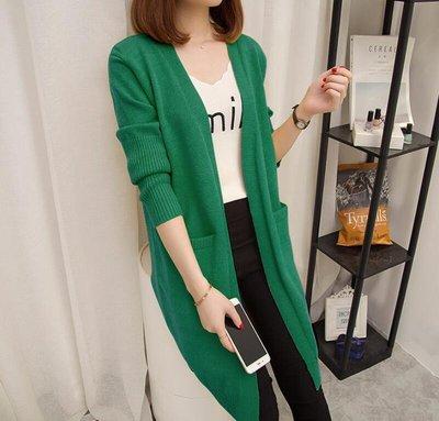 針織外套 中長款寬松素面針織衫 開衫 外搭韓版新款口袋長袖毛衣—莎芭