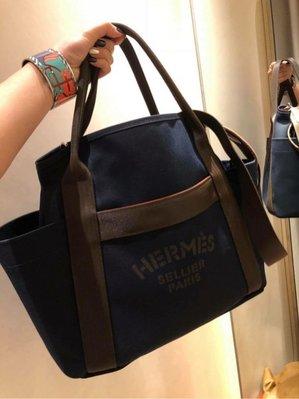 [J&Y精品代購]hermes 深藍色帆在購物袋 男女可用