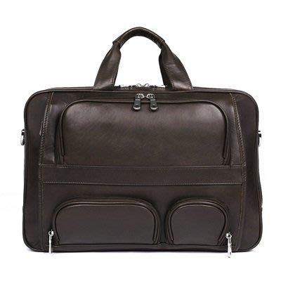 手提 包 真皮公事包-牛皮17吋純色大容量男包包3色73ur3[獨家進口][米蘭精品]