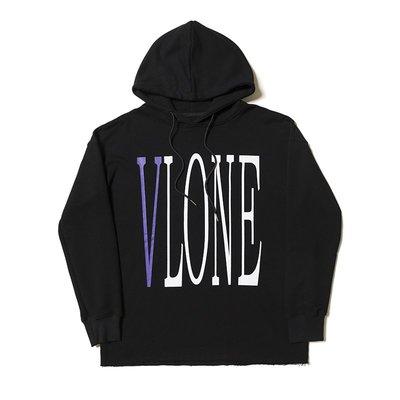 【POP】陳冠希上身VLONE  POP UP紫色大V撕邊連帽男女款衛衣薄款