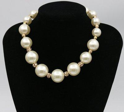 【JP.美日韓】韓國時尚奢華大珍珠間隔水鑽球女鎖骨鏈晚禮服配飾