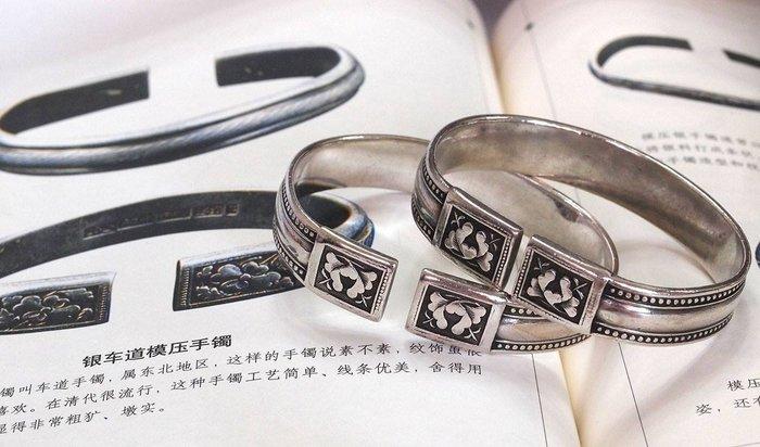 銀囍古董銀飾--老銀手鐲 純銀手鍊 老開門東北對鐲 較少款型 牡丹富貴爆珠 對鐲 獨家典藏 藏品釋出
