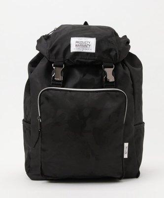 【Mr.Japan】日本限定 PRODUCTY WARRANTY 後背包 雙排扣 中性 包 側邊拉鍊 黑迷彩 預購款