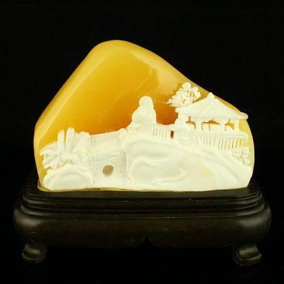 一口價 精工雕刻天然印尼金田黃 2斤重 擺件 香山賞景 送證書包郵【古玩閣】6447