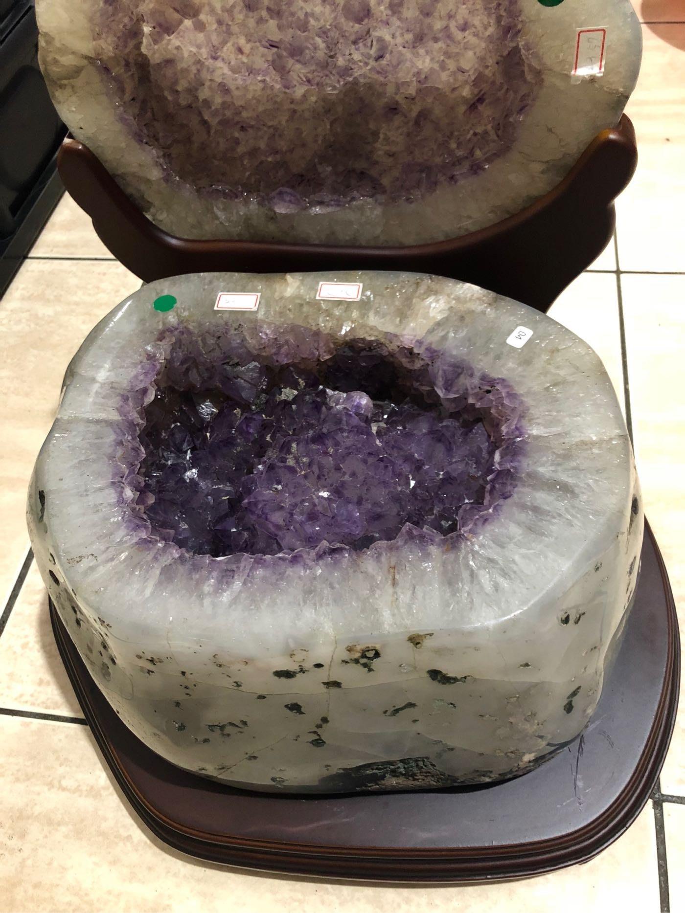 天然瑪瑙聚寶盆~23.6公斤全拋瑪瑙紫水晶聚寶盆~心願925