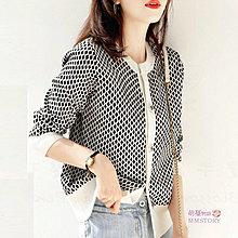 小香風格紋開衫針織毛衣外套 萌蔓物語【KF0284】韓西裝氣質女上衣