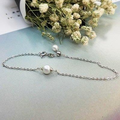 珍珠 手 鍊 925純銀手環-6mm雙珠細款生日情人節禮物女飾品73qn15[獨家進口][巴黎精品]