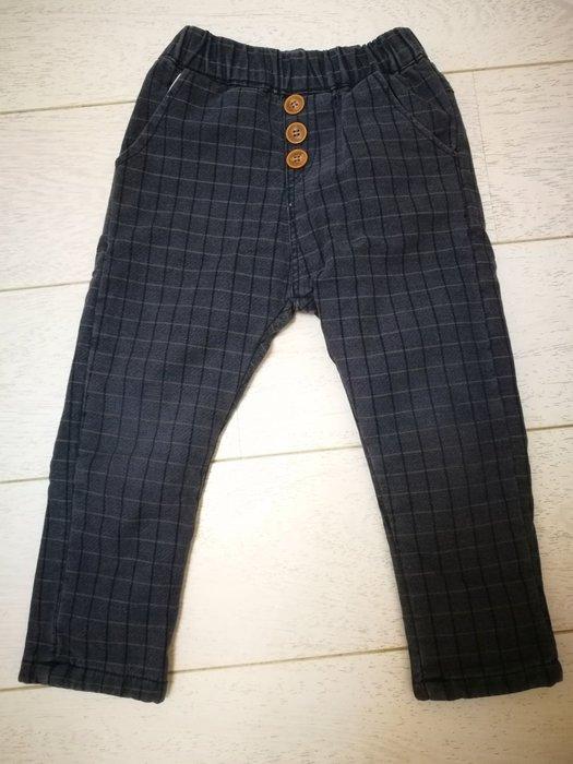 正韓童裝厚鋪棉藍灰格紋長褲 刷毛 保暖
