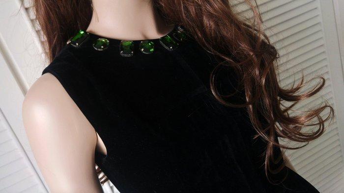 Celine 綠寶石黑絨無袖背心小洋裝