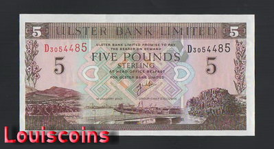 【Louis Coins】B999-NORTHERN IRELAND-2001北愛爾蘭鈔票-5 Pounds