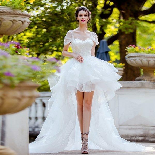 時髦少 仙氣范兒 立體廓形前短后長蕾絲拖尾新娘婚紗禮服 998