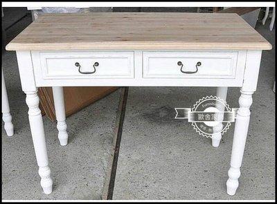 南法鄉村風 仿舊白色雙色雙抽實木書桌 ...
