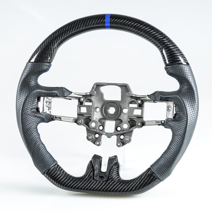 卡夢碳纖維+真皮+藍環 方向盤 Ford Mustang EcoBoost 5.0GT 用2015-2018年式適用