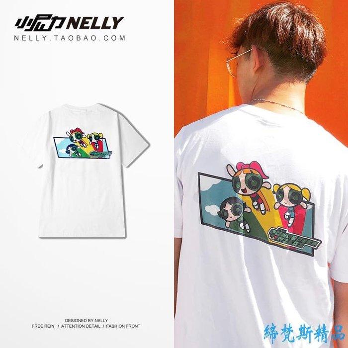 韓國白色卡通印花動漫青年創意品質時尚潮流短袖T恤男女