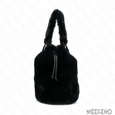 【WEEKEND】 STAND STUDIO Scarlet 鋪毛 束口 手提 水桶包 黑色