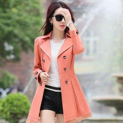 秋季風衣女20到30歲年輕女士外套修身長袖蕾絲花邊中長款淑女上衣