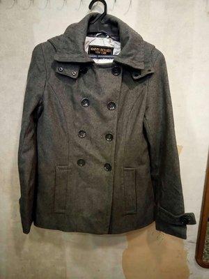 (愛莎&嵐) 美國品牌 MARVIN RICHARDS NEW YORK 雙排扣連帽(可拆)羊毛外套/6