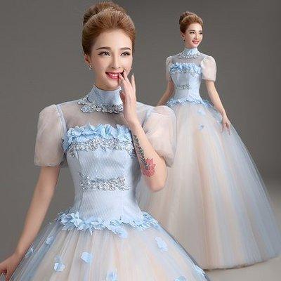 艾琳婚紗禮服~050705-1外景拍攝蓬蓬裙舞台彩纱演出禮服晚装紫色短袖婚紗禮服~ 3件免運