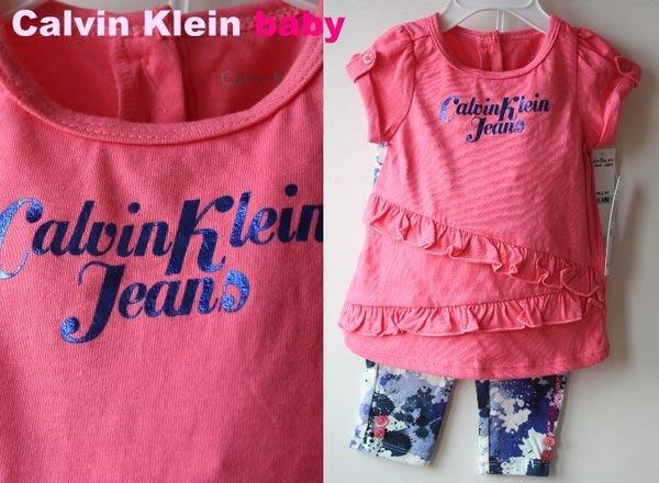 【Calvin Klein CK girl】100% 全新正品 短袖+九分褲 套裝 彌月禮 二件組【6/9M 2-3T】