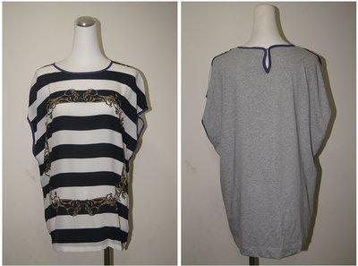歐洲英國品牌 Mother of Pearl  黑色白橫條藤蔓短袖T恤  原價 9100