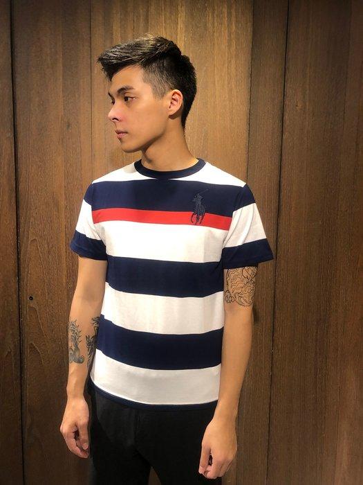 美國百分百【全新真品】Ralph Lauren 男 T-shirt 短袖 條紋 RL polo 藍 XS/S號 J305