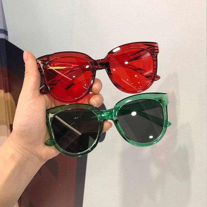 任意滿三件免運 全場折扣折 韓國個性墨鏡林允兒綠茶同款潮牌圓框眼鏡墨綠貓眼復古女士太陽鏡