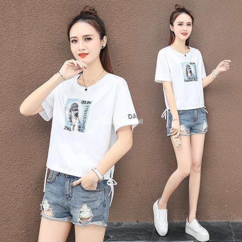 超會購Super Mall短袖t恤女白色2020年夏季新款時尚寬松綁帶上衣夏天印花短款體恤