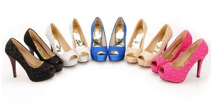 Pyf ♥  蕾絲亮片 金蔥 性感 魚口 婚鞋 超高跟鞋 CD/TS 加大 40-44 大尺碼女鞋