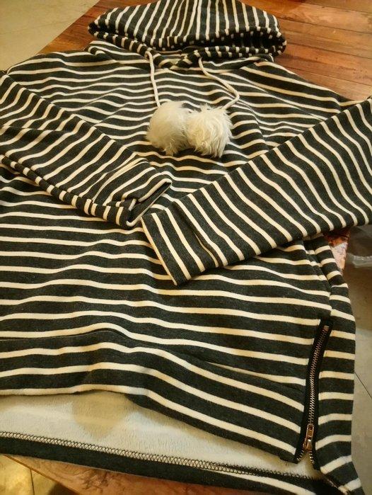 free size厚棉內刷毛 連帽 雙口袋 長袖厚上衣條紋 胸圍平量52公分 衣長60公分 , 網路品牌服飾