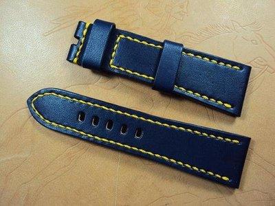 沛納海摺疊釦深藍色牛皮錶帶可訂各廠牌手工錶帶 Panerai deployant clasp leather strap