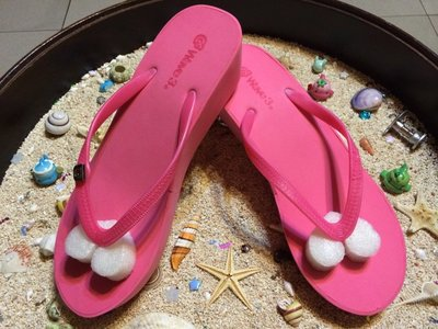 【阿波的窩 Apo's house】Wave3 限量 女款 高底 跟高5公分 素色 霧面耳帶 飾扣型 夾腳拖鞋-粉色