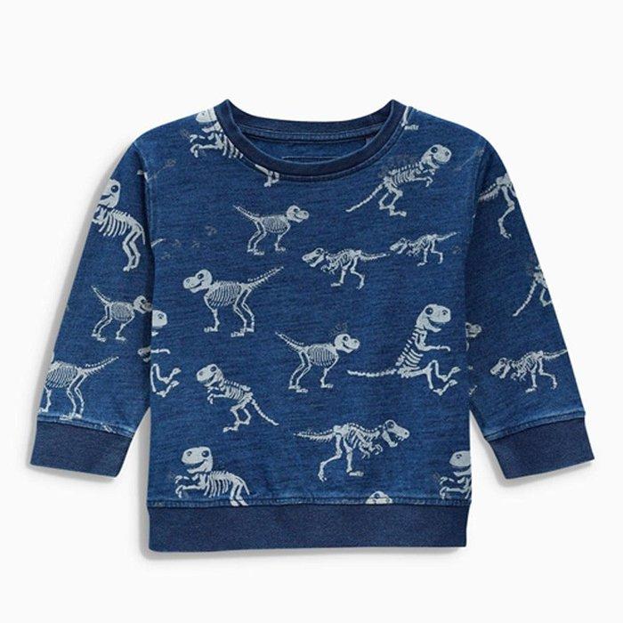 ☆草莓花園☆BM1305  藍色小恐龍 新品歐美風兒童長袖衣服 純棉童T 男童  兒童t恤