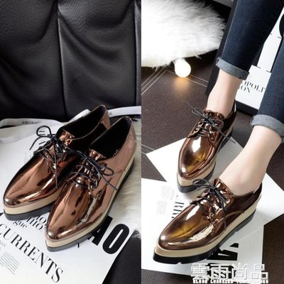 春秋季新款韓版防水台單鞋漆皮休閒厚底高跟尖頭厚底楔形鬆糕女鞋