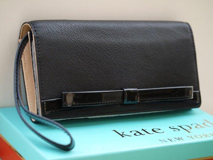 笑笑專屬® Kate Spade RUTHIE PARK MARA BLACK BOW WALLET 黑色腕帶按釦長款錢