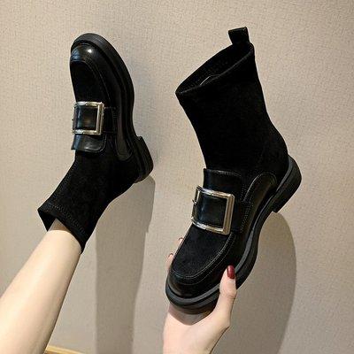 冬季保暖女靴 馬丁鞋 長靴機車靴 韓版百搭瘦瘦靴女英倫風秋冬短靴女彈力襪靴短筒馬丁靴女靴子