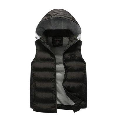 保暖馬甲外套男 休閒可拆卸帽 多色運動修身秋冬背心外套棉質外套t5675