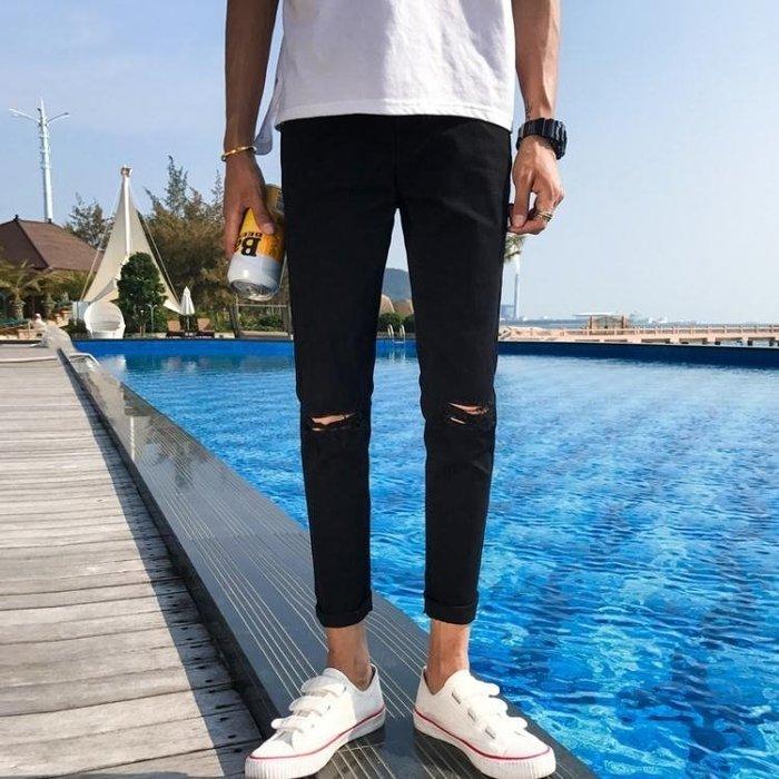 夏季新款薄款修身破洞牛仔褲男士九分褲長褲乞丐正韓流行百搭潮流