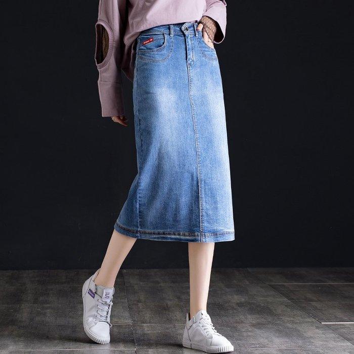 Fashion*a字裙 彈力牛仔裙 包裙長裙 夏季半身裙 中長款修身百搭長裙