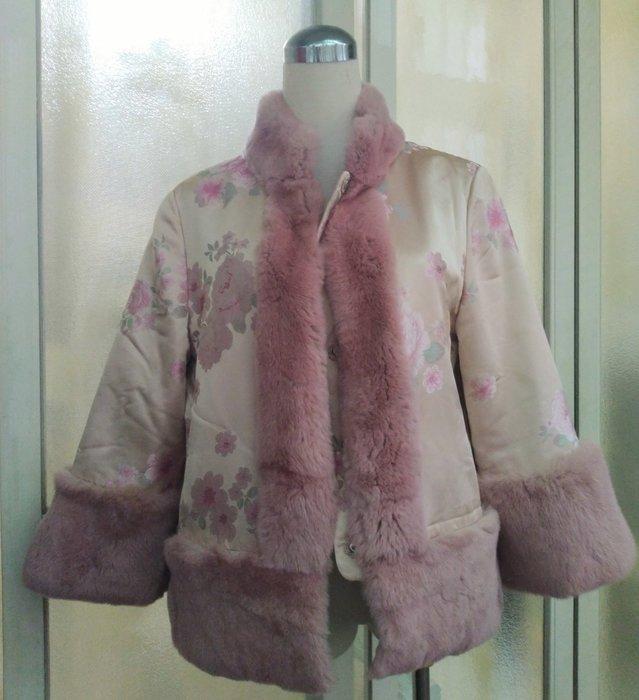 專櫃 龍笛 LONDEE 中國風纏絲真皮草短大衣 外套