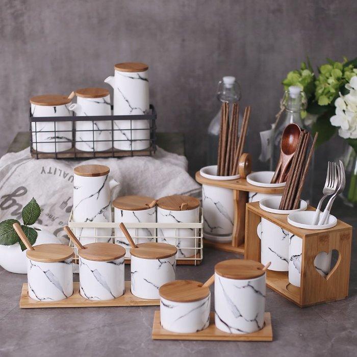 北歐大理石 陶瓷調味罐 油醋分裝瓶 陶瓷罐 糖鹽罐 |悠飾生活|