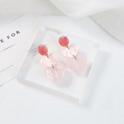 新款飾品粉色ins少女心溫柔甜美愛心耳釘韓國氣質簡約亞克力耳環無痛耳夾