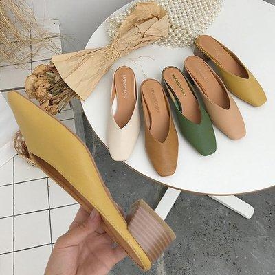 尖頭鞋馬卡龍涼鞋 輕熟女春夏彩色穆勒鞋跟鞋涼鞋拖鞋 艾爾莎【TSE8884】