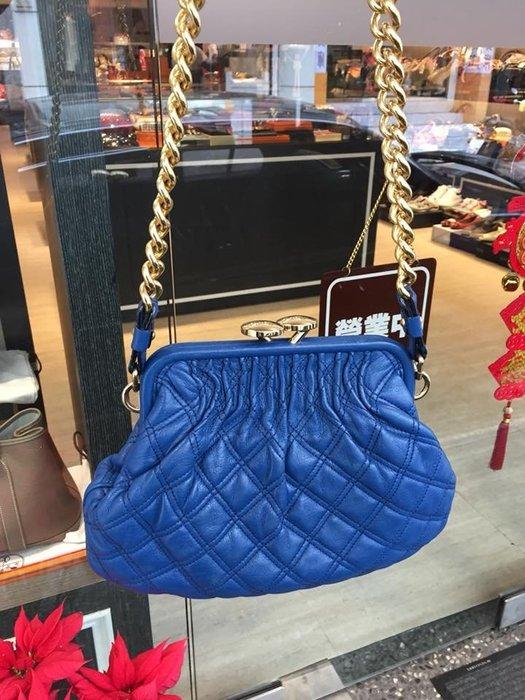 典精品名店 Marc Jacobs 未使用 寶藍色 祖母 包 stam bag 珠扣式 金鍊 包 肩背包 現貨