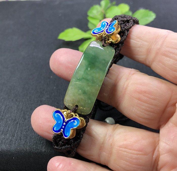 天然緬甸翡翠A貨 設計款黃加綠手排(搭配景泰藍)只有一個、可伸縮~就是要你與眾不同
