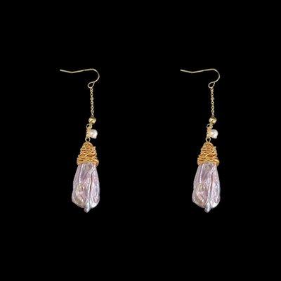 加恩歐美新款輕奢復古天然紫色巴洛克淡水珍珠手工繞線編織創意耳環12311