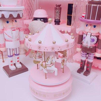 粉色少女心旋轉木馬音樂盒蛋糕裝飾桌面擺件八音盒生日禮物WY