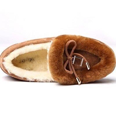 豆豆鞋羊毛絨平底鞋-休閒鞋透氣加絨磨砂真皮女鞋子3色72o4[獨家進口][米蘭精品]