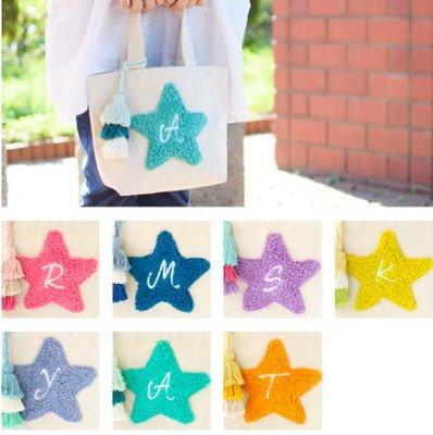 *Gladness day 日韓代購*現貨+預購 正版 日本 彩色星星字母流蘇手提帆布包 手提袋 帆布袋 字母包 刺繡